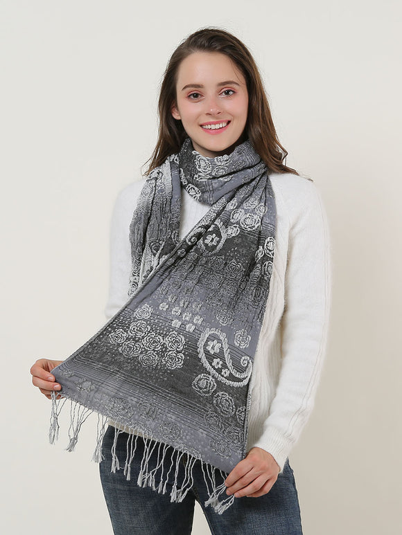 Woman Shawl Scarf Wrap Black Grey Warm Soft Cotton Paisley Long Scarves Tassels