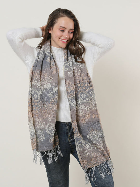 Woman Scarf Paisley Cotton with Tassels Ladies Soft Winter Scarves