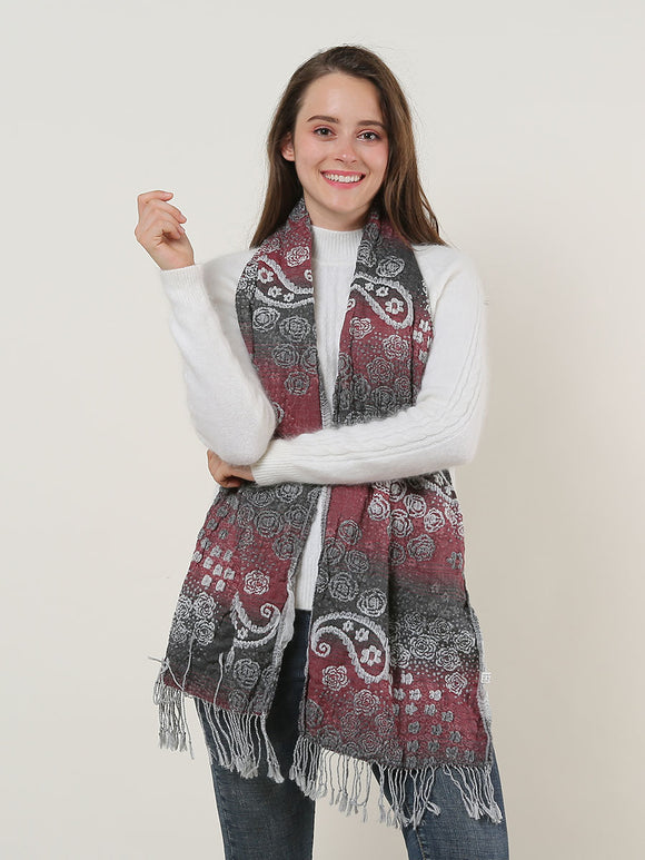 Woman's Winter Scarf Warm Soft Red Paisley Scarves Long Tassels Cotton Voile