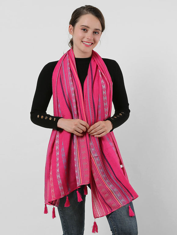 Winter Scarf Fushia Shawl Wrap Warm Soft Geometric Pattern Pink Scarves Tassels