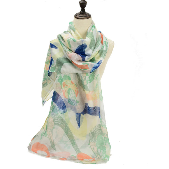 Ladies Scarf Long Soft GREEN Crescent Pattern Scarves Faux Cashmere UK Seller