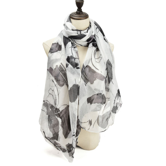 Ladies Scarf Soft Faux Cashmere BLACK Abstract Pattern Scarves Designer UK