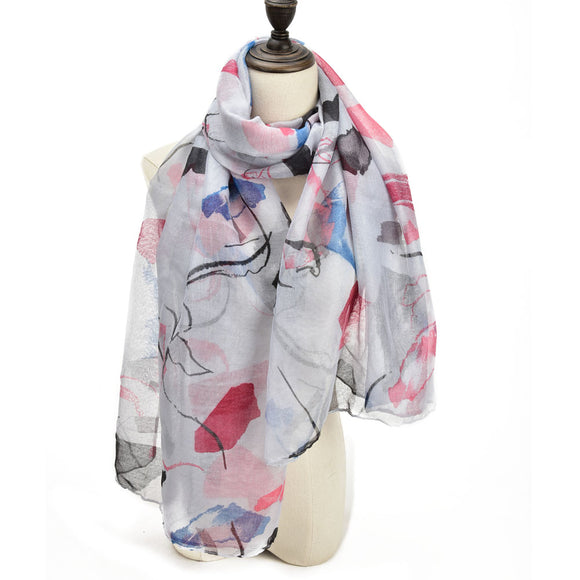 Ladies Scarf Soft Faux Cashmere GREY Abstract Pattern Scarves Designer UK