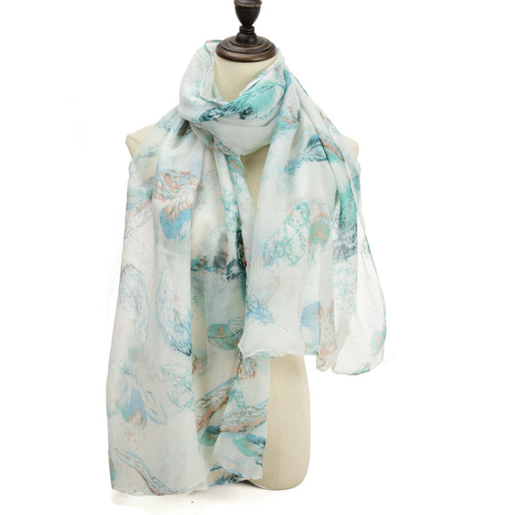 Ladies Scarf Soft Faux Cashmere GREEN Feather Pattern Scarves Designer UK