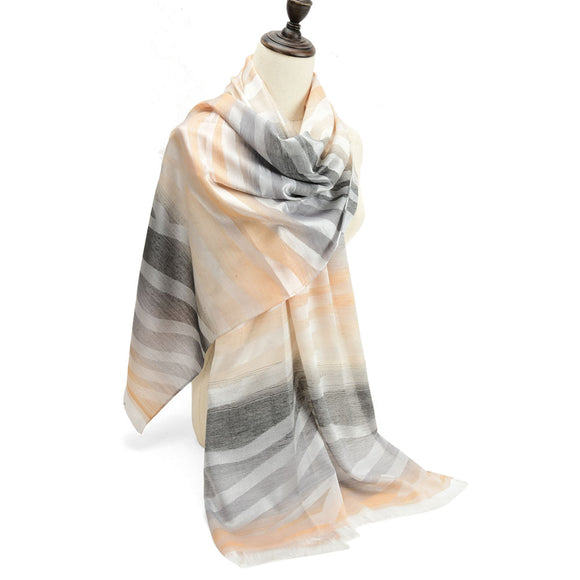Ladies Scarf Soft Faux Cashmere CAMEL Gradient Pattern Scarves Designer UK