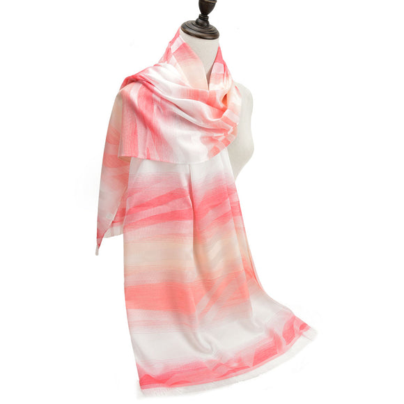 Ladies Winter Scarf Wrap Shawl Soft Warm WATERMELON RED Gradient Pattern Scarves