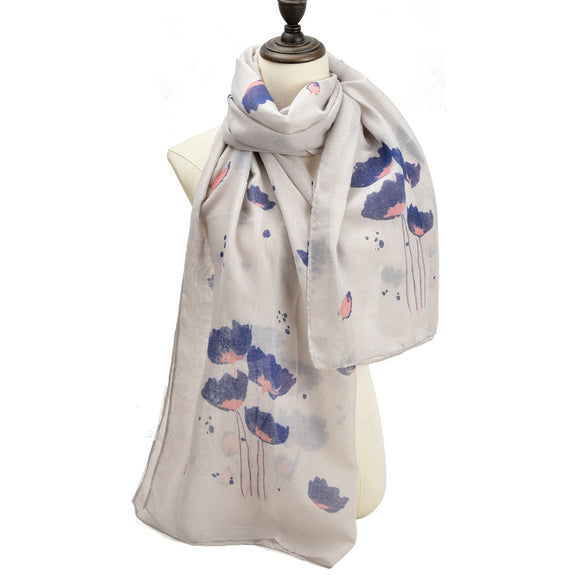 Ladies Scarf Soft Faux Cashmere GREY Lotus Flower Pattern Scarves Designer UK