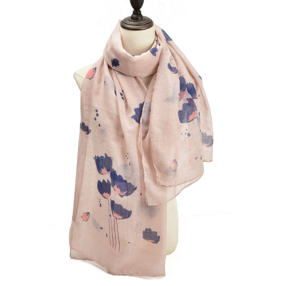 Ladies Winter Scarf Wrap Shawl Soft Warm PINK Lotus Flower Pattern Scarves UK