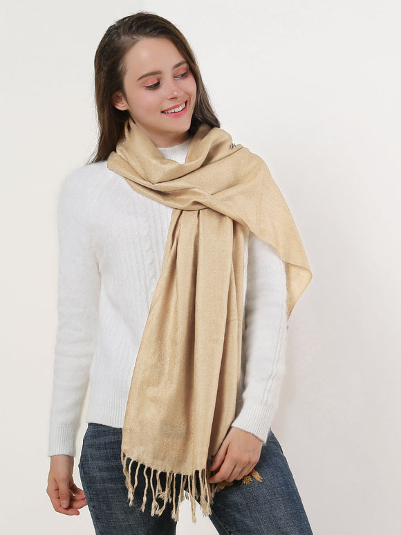 Woman Scarf Beige Long Textured Plain Colour Scarves With Tassels Soft & Warm