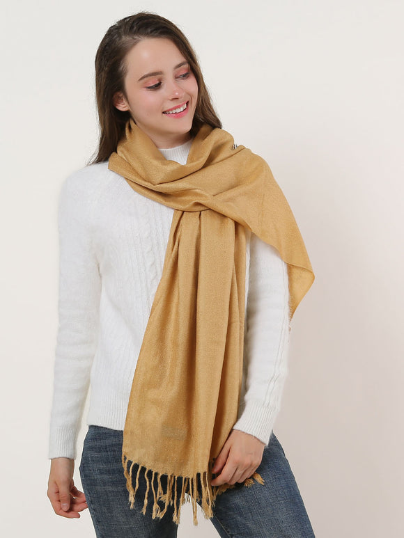 Ladies Scarf Camel Colour Long Soft Wrap Scarves Tassels Designer Womans