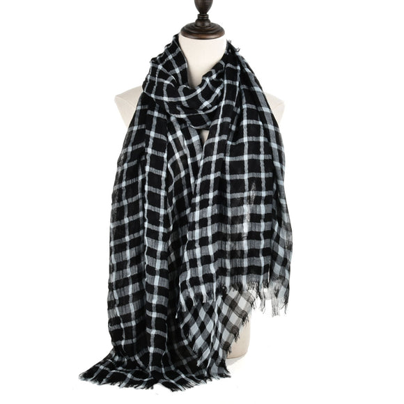 Woman Plaid Scarf Black Tassels Scarves Super Soft-touch Cotton Large Long