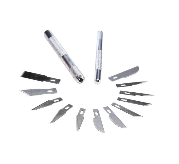 photo 1 of stanley Craft Knife Set With 12 Blades, Chisel, Curved, Curved Carving, Pointed and 2 Handles