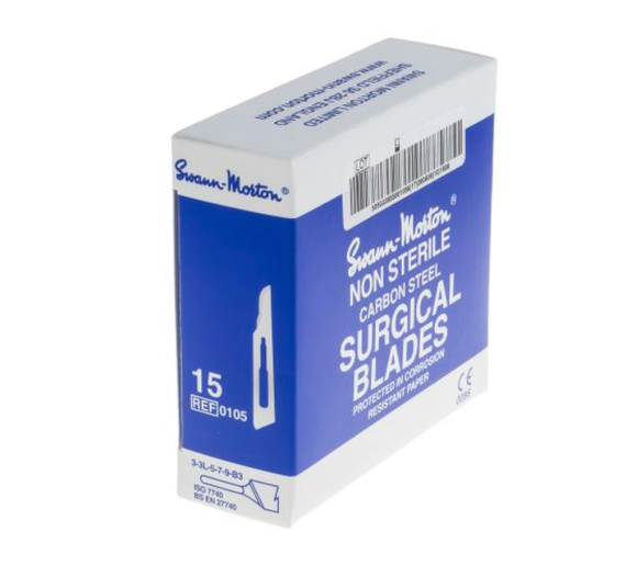 photo of Swann-Morton No.15 Carbon Steel Scalpel Blades - Box of 100 Accurate Fine Blades