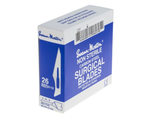 photo of Swann-Morton No.26 Carbon Steel Scalpel Blades - Box of 100 Accurate Fine Blades