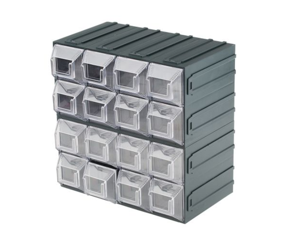 photo 1 of Terry Transparent, Plastic 16 Drawer Storage Unit, 208mm x 208mm x 132mm - Component Storage Cabinet