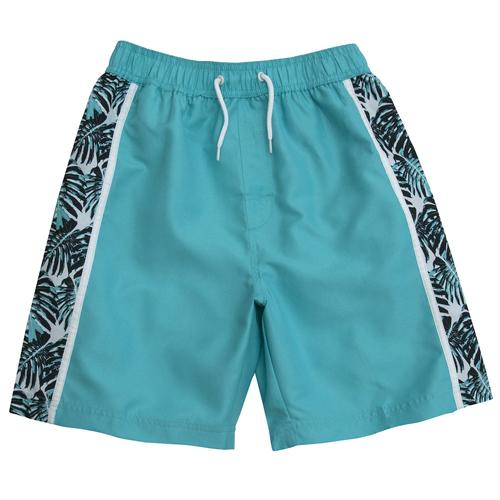 Boys Contrast Beach Print Bermuda Swimming Shorts 7 to 13 Years Turquoise, Navy
