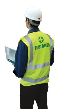 Photo of Unisex Hi Vis First Aider Vest Waistcoat Safety Jacket L to XL