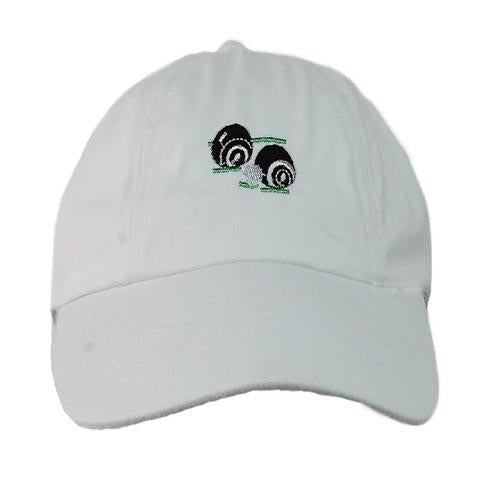Unisex Bowls Logo Baseball Cap, UK Bowlswear Clothing, White Bowls Hat