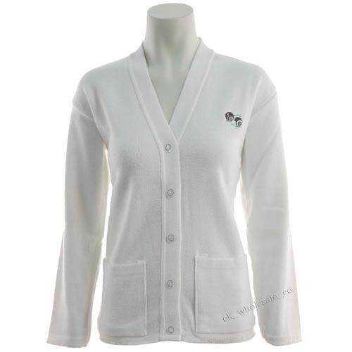 Ladies Bowls Logo Cardigan White Sizes S - 5XL, Womans Bowlswear UK Bowls Jumpers