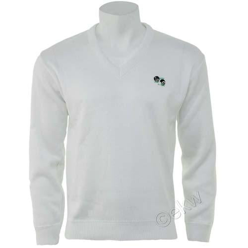 Unisex Bowls White Pullover Sizes S - 5XL, UK Lawn Bowlswear Jumper Clothes, Clo