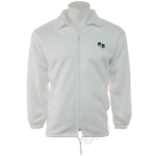 Unisex Bowls Polar Fleece Jacket Sizes S - 3XL, UK Bowlswear White Zip Up Jacket
