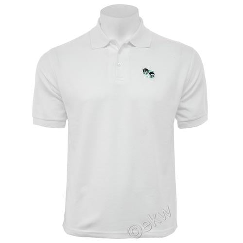 Mens Bowls Logo Cotton Polo Shirt White Sizes S - 2XL, UK Gents Bowls Clothes, C