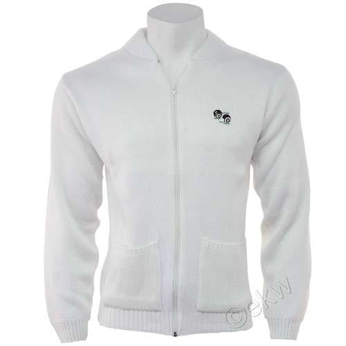 Unisex Bowls Zipper Cardigan White Sizes Small - 5XL, British Lawn Bowls Wear, C