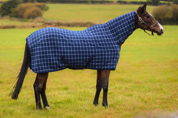 Fleece Combo Rug 250gsm Breathable Anti Sweat Navy Square Lines 5'3'' - 7'0''