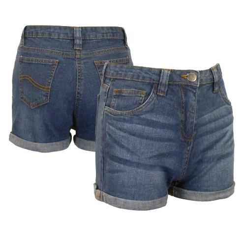 Girls Denim Shorts Rolled Hem