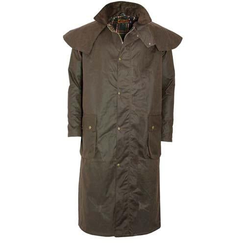 Long Antique Wax Jacket Cape Waxed Waterproof Hunting Shooting Riding Coats XXL