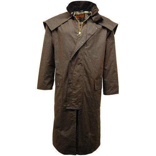 Stockman Waxed Coat Long Wax Cape Raincoat Long Hunting Fishing Shooting S - XXL