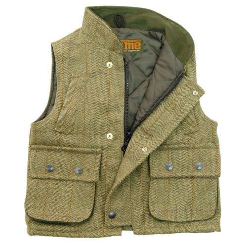 Kids Tweed Waistcoat Gilet Jacket, Childrens Shooting, Hunting Clothes UK
