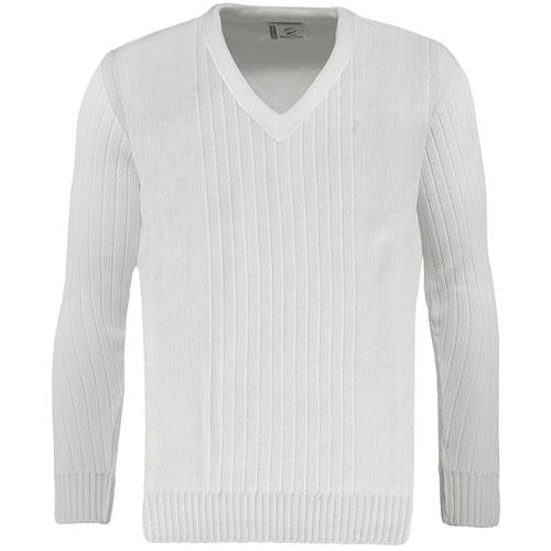 Green Play Bowls Ribbed Pullover White Sizes S - 5XL, V Neck Bowls Jumpers, UK Plus Size Bowlswear