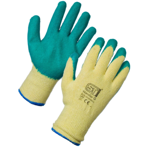 Latex Coated Handler Gloves XL Aqua Green (12 Pairs) PPE Work Gloves Size 9 & 10