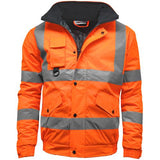 Hi Vis Bomber Jacket Class 3 Sizes S - 5XL Waterproof Safety Coats Phone Pocket