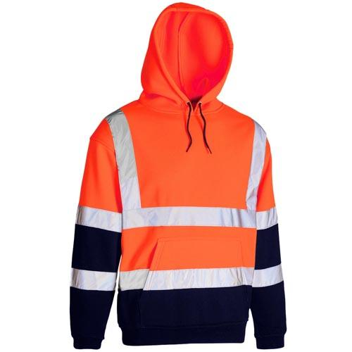 Hi Vis Hoody Hi-Vis Yellow Orange Safety Fleece Hoodie BS EN471 Sizes S - 3XL
