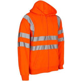 Hi Vis Zip Hoody Sizes S - 3XL, Orange or Yellow Safety Clothing HV311
