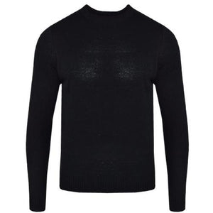 Mens Plain Crew Neck Jumper Knitted Sweater Black Charcoal Navy Red Sizes S-XXL