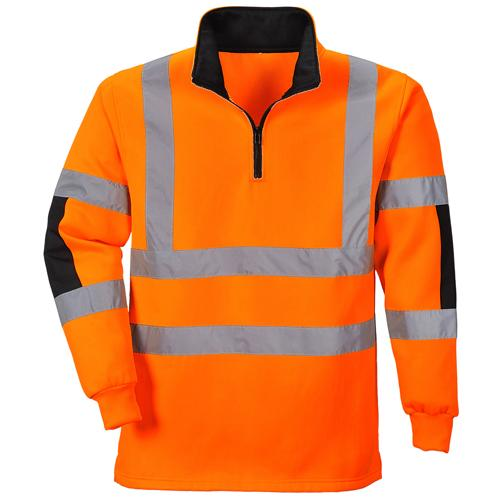 Hi Vis Rugby Shirt Sizes S - XXL, Orange Yellow Safety Workwear Top
