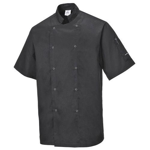 Portwest Short Sleeved Chefs Jacket Black Sizes S - 3XL, UK Chef Clothing, Chefw