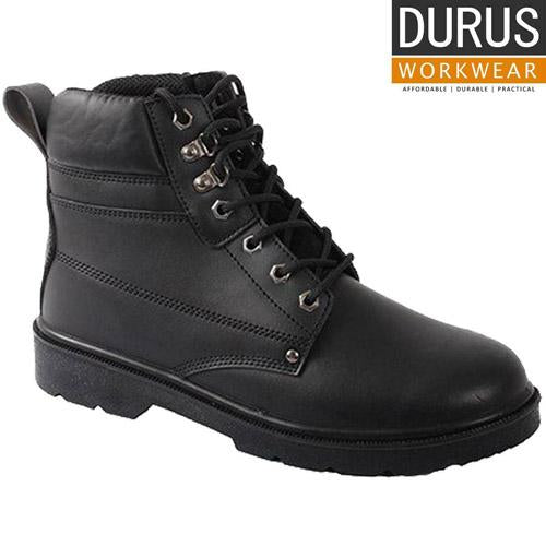 Mens Durus Steel Toe Cap Boot UK Sizes 6-12 Safety Work Boots Black Leather