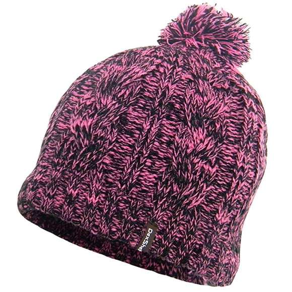 Ladies Waterproof Beanie Hat Thermal Knitted Single Pom Beanies Hats Pink, Grey