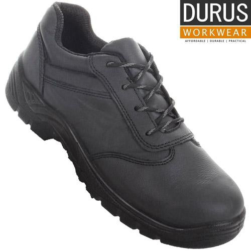 Mens Durus Workwear Steel Toe Shoes Cap Lace-Up Uniform Shoe UK 9 -12 Black
