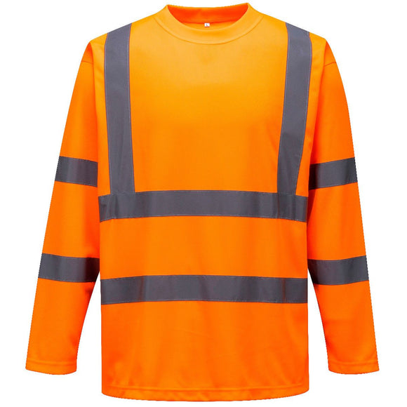 Hi Vis T Shirt Yellow, Orange Long Sleeved Crew Neck T-Shirts S178