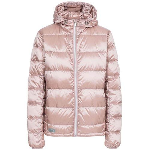 Ladies Hooded Down Jacket XS-XXL Trespass Puffer Jackets Antique Rose, Pink UK