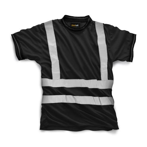 Hi Vis T Shirt, Short Sleeve Safety T Shirts Sizes S - 3XL, Black Orange & Yellow HV007