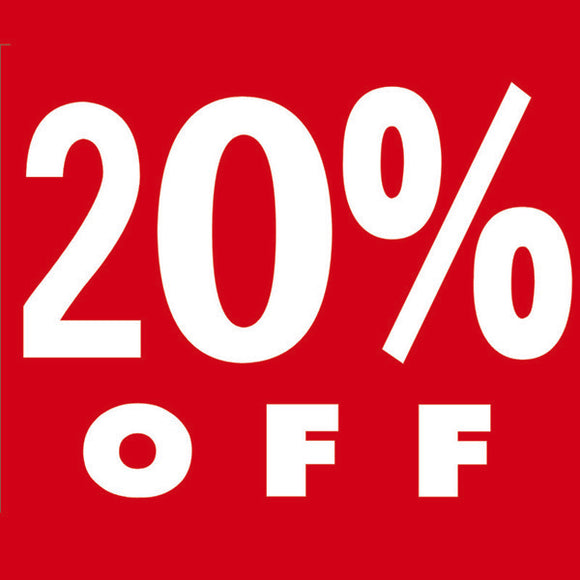 PS11 Red -  20% Off Cardboard Shop Sign