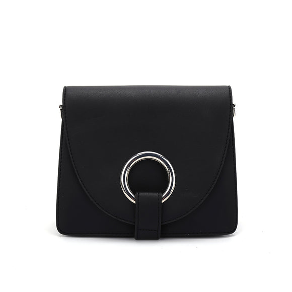 CT28176 BLACK - Solid Color Cross-Body Bag With Metal Ring And Flap Decoration
