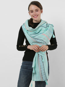 SF1156 Green - Small Geometric Pattern Scarf With Tassels Trims