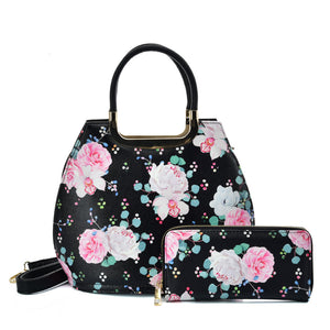 VK2131 BLACK - Shell Set Bag With Flowers And Special Handle Design